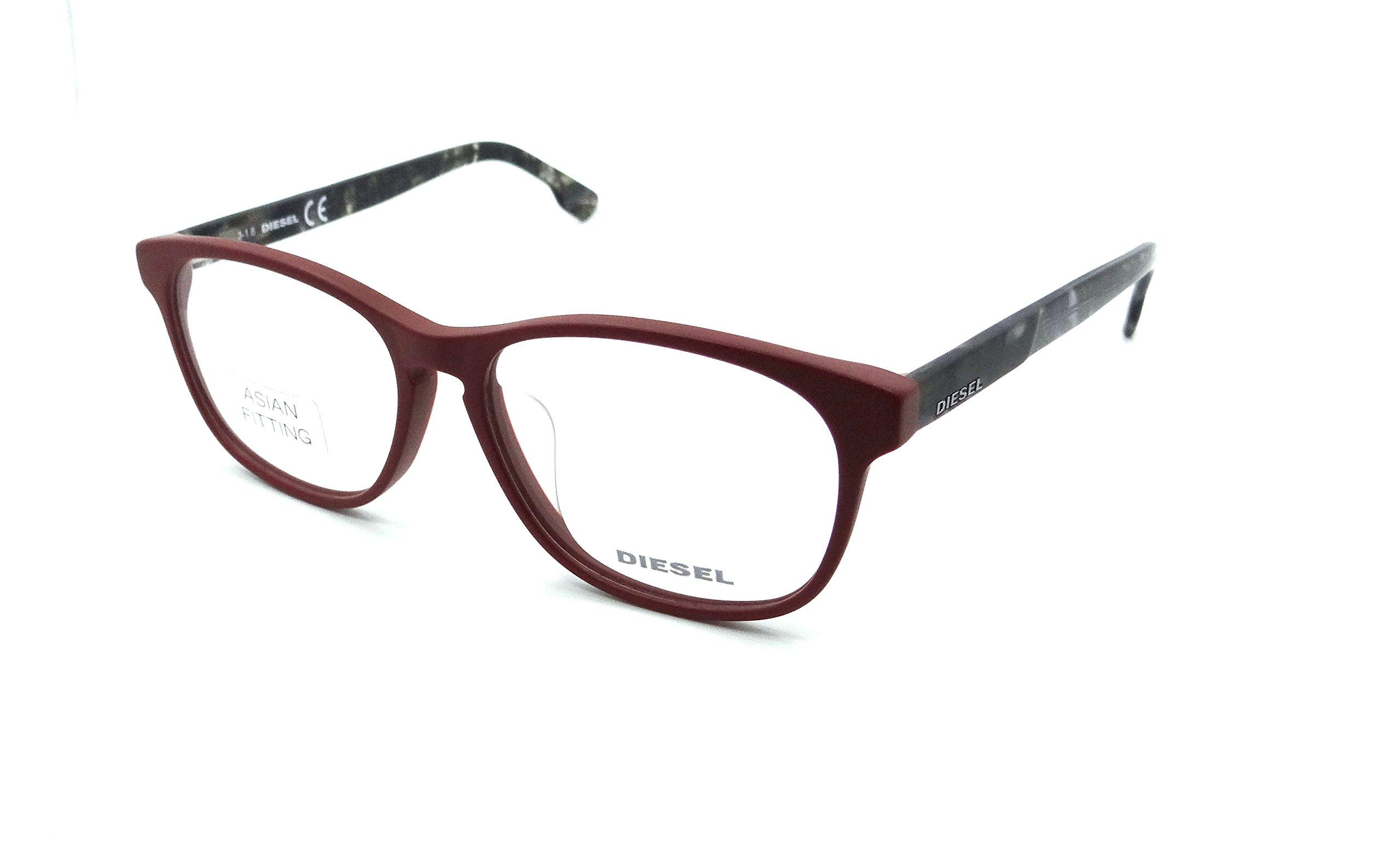 Diesel Rx Eyeglasses Frames DL5187-F 067 55-15-145 Matte Burgundy Asian Fit