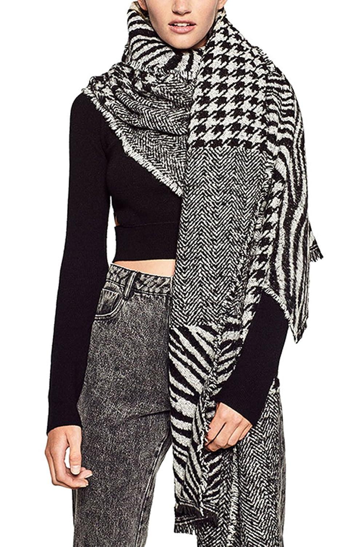 VamJump Women Winter Cahsmere Houndstooth Long Blanket Scarves Shawl