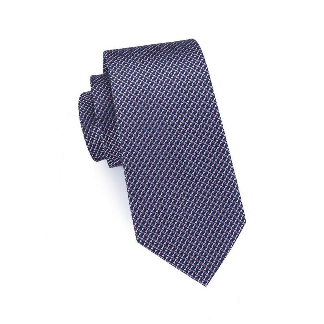 Irvint /& Co Blue Pink Striped Plaids/&Checks Jacquard Silk USA Mens Classic Necktie With Pocket Square And Cufflinks Woven Set