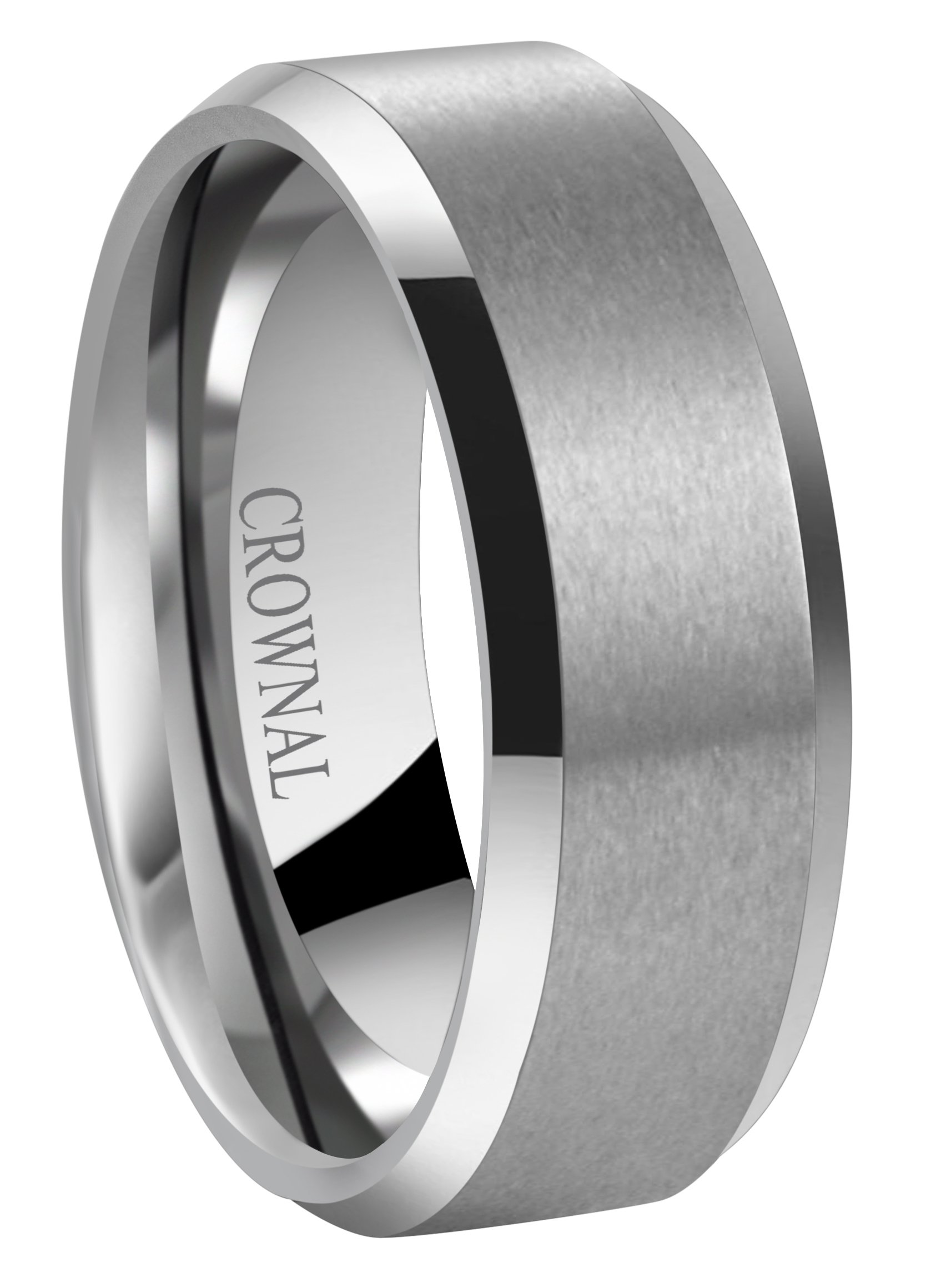 Crownal 6mm 8mm 10mm Tungsten Carbide Wedding Band Ring for Men Women in Comfort Fit Beveled Edges and Matte Finish Size 5 To 17 (8mm,9)