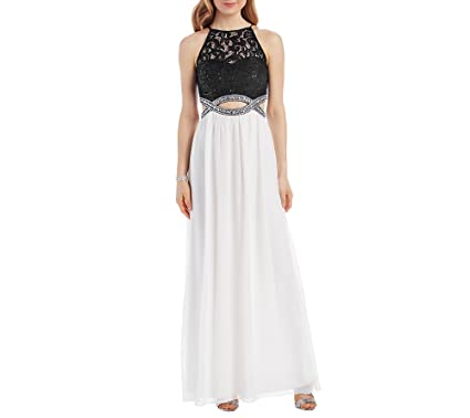 Speechless Juniors Halter Long Prom Dress, Black/Ivory, ...