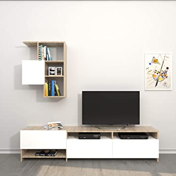 THETA DESIGN by Homemania TV-Halterung, Mobile TV Draco, weiß/Sonoma ...
