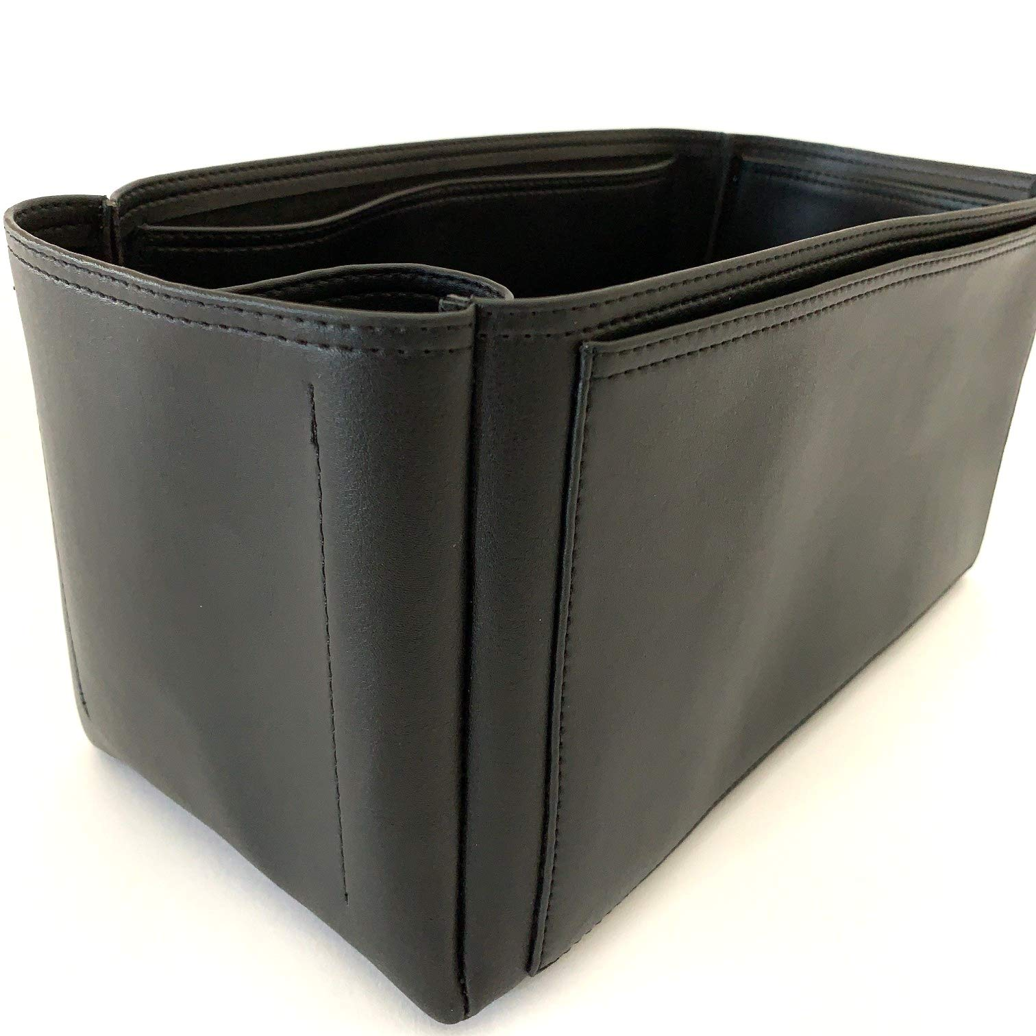 Vegan Leather Organizer for Cuyana tote bags - Premium Bag Purse Insert (Black)