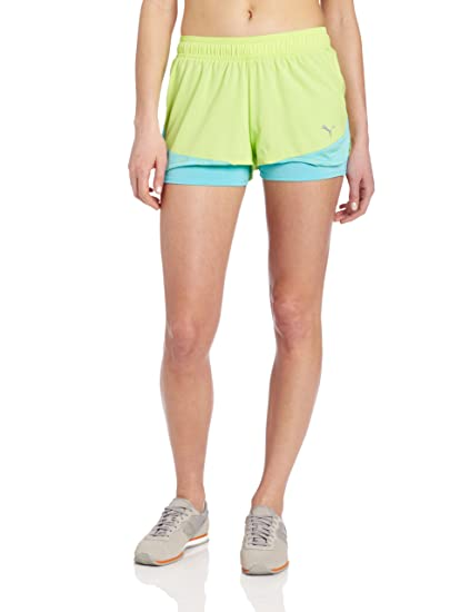 detailed look cdd59 cb21d PUMA Women s CR 3 Inch Compression Short, Sharp Green Blue Curacao, X-Large  at Amazon Women s Clothing store  Athletic Shorts
