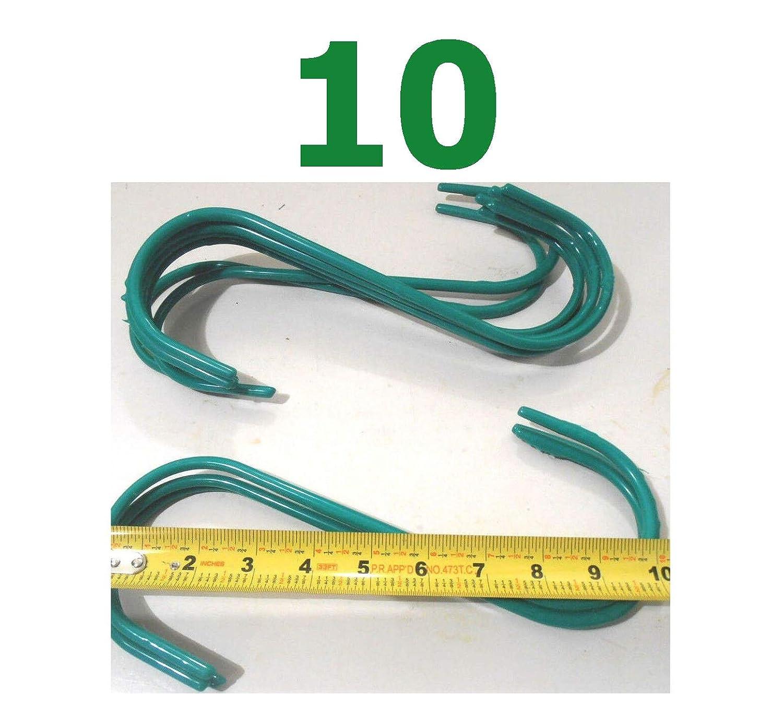 10Pcs S Hook 9.99x1/4'' Jumbo Steel Green S-Hooks PVC Coated Plant Hanger Quick Delivery