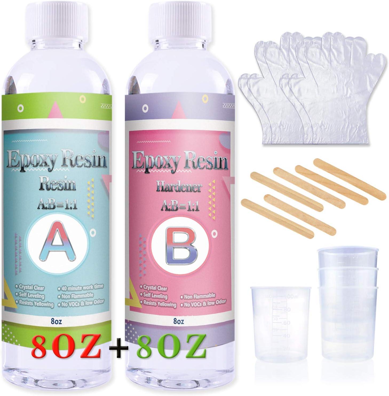 kit de resina epoxi 227 ml + endurecedor 227ml vasos varilla