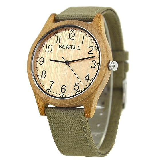 BEWELL W124B Reloj de Madera de los Hombres Peso Ligero Simple Diseño Arab Numeral Dial Relojes