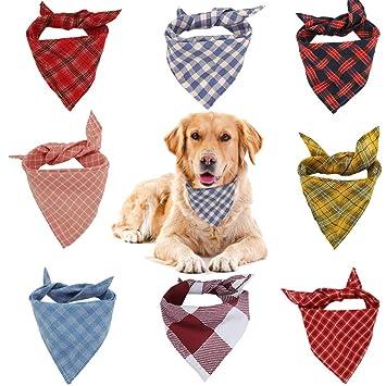 VIPITH Bandana para Perro, 8 Unidades de pañuelos para Perro, Lavables, Reversibles,