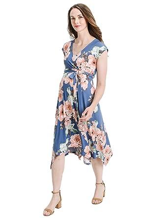 24036589d3 Hello MIZ Women s Floral Printed Sleeveless Nursing Maternity Dress (Denim