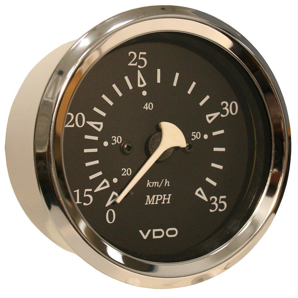 VDO Allentare Black 35MPH 3-3/8'' (85mm) Pitot Speedometer - Chrome Bezel