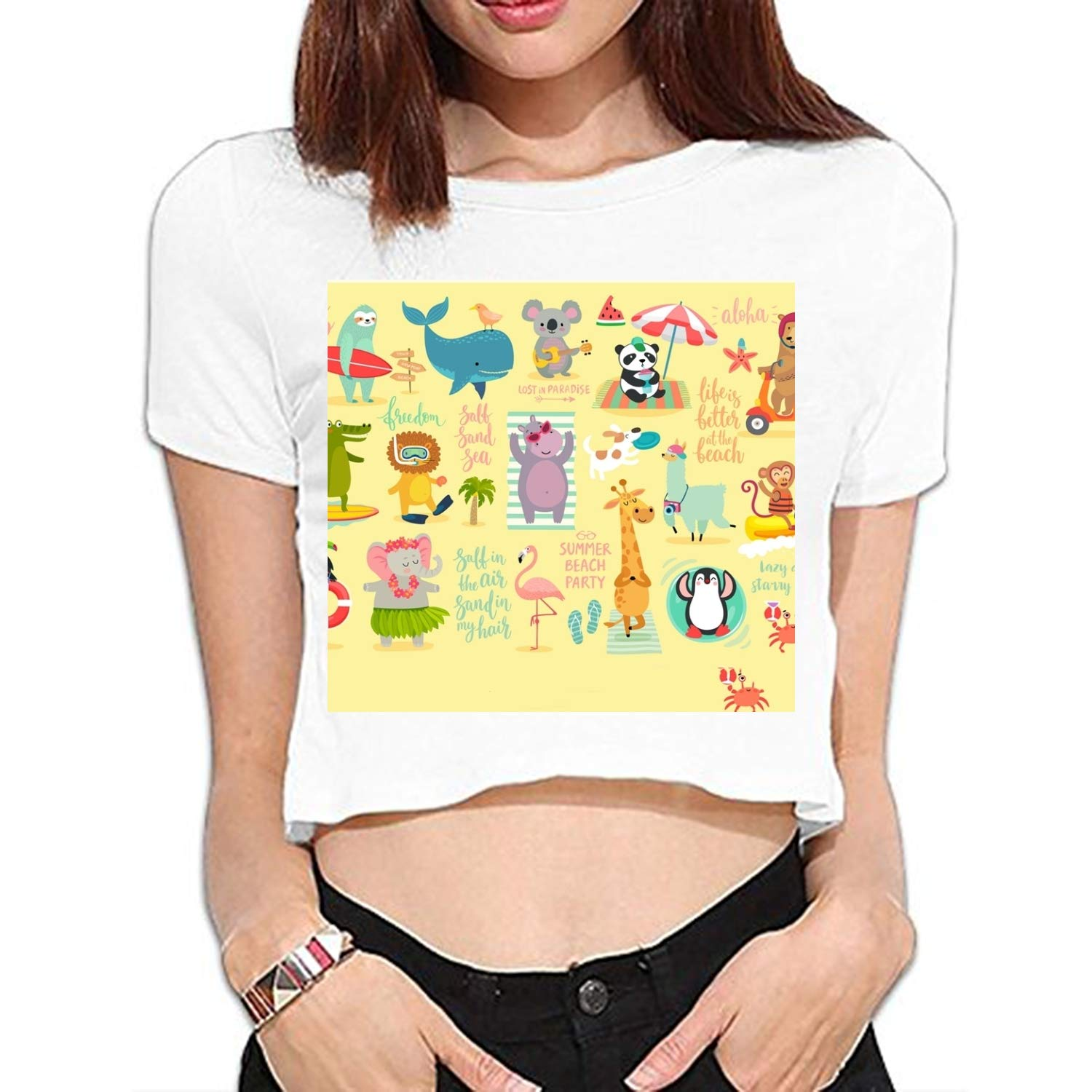 75bd6e5b1f05 Amazon.com  Teen Girl Funny T Shirts Women Cute Tops Beach Summer Style Graphic  Tee  Clothing
