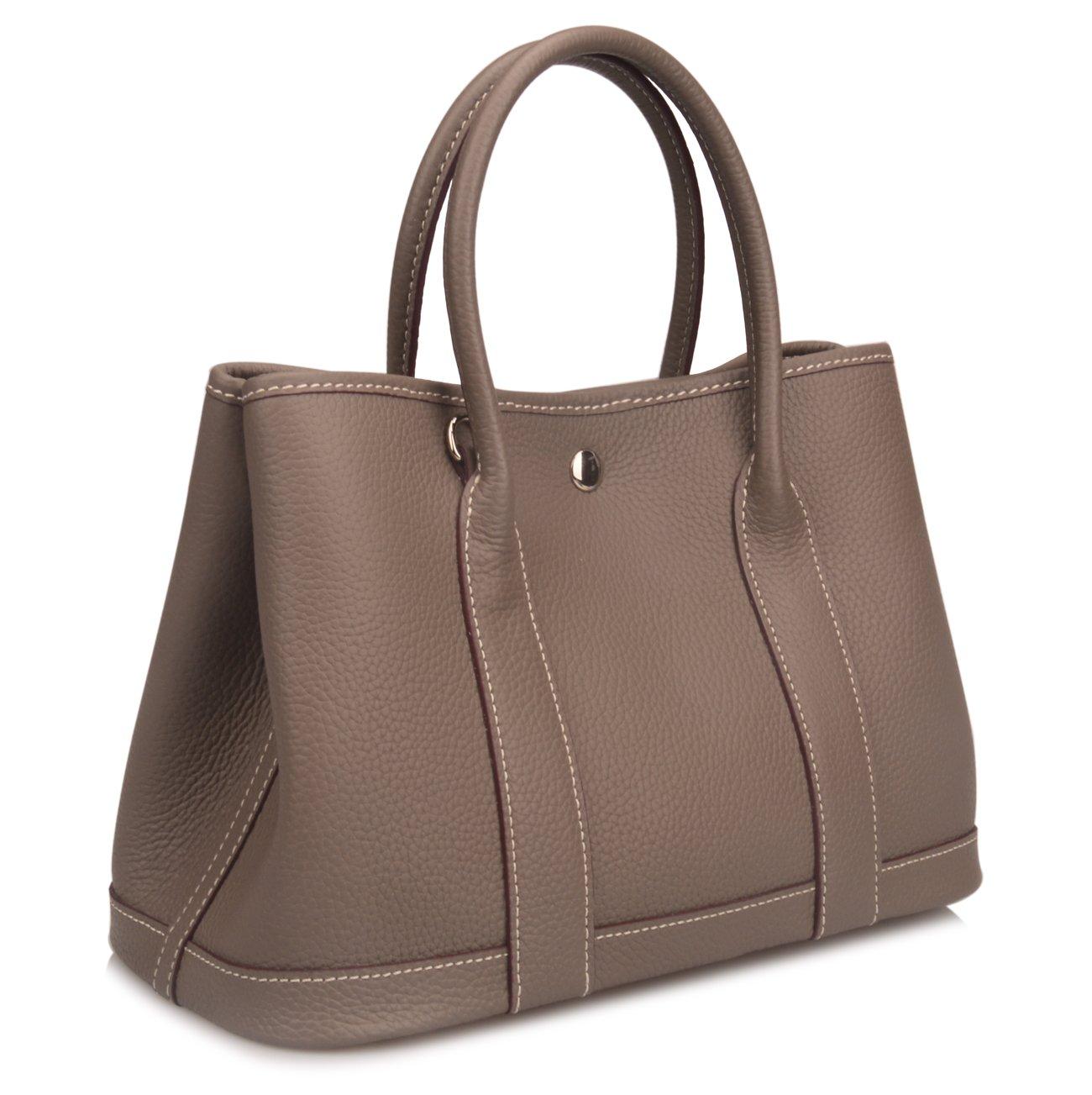 Qidell Women's Genuine Leather Tote Bag Top Handle Handbags (Small, Dark grey)
