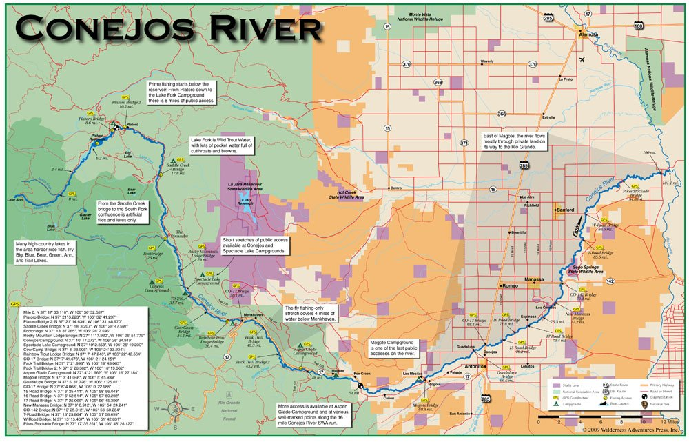 Conejos River 11x17 Fly Fishing Map