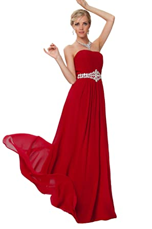 Pretty Strapless Beaded Waistband Long Evening Bridesmaid Dresses In