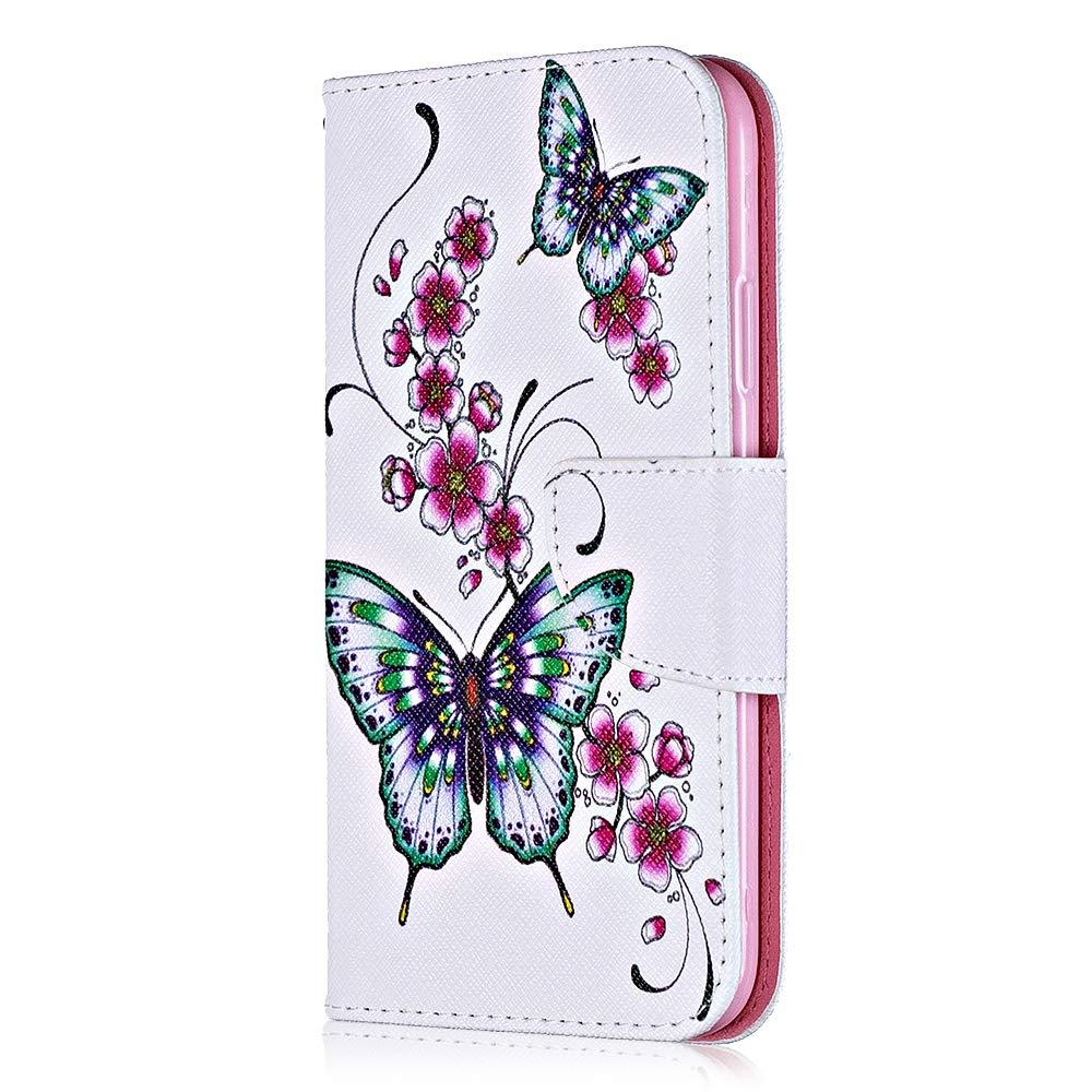 Coque Huawei P10 Lite, Bear Village® Motif Peint Étui en Cuir avec Slots pour ID et Cartes, Premium Housse avec Fonction Stand pour Huawei P10 Lite (#1 Papillon)