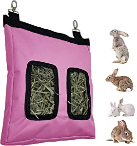 Rabbit Feeder Bunny Guinea Pig Hay Feeder Bag,Hay Guinea Pig Hay Feeder, Rabbit Feeder Fabric Bag Chinchilla Plastic Food Bowl Feeder Storage Bag (Pink)