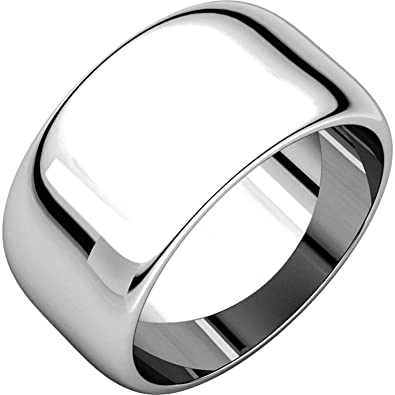 Men S And Women S 14k White Gold 10mm Wide High Dome Plain