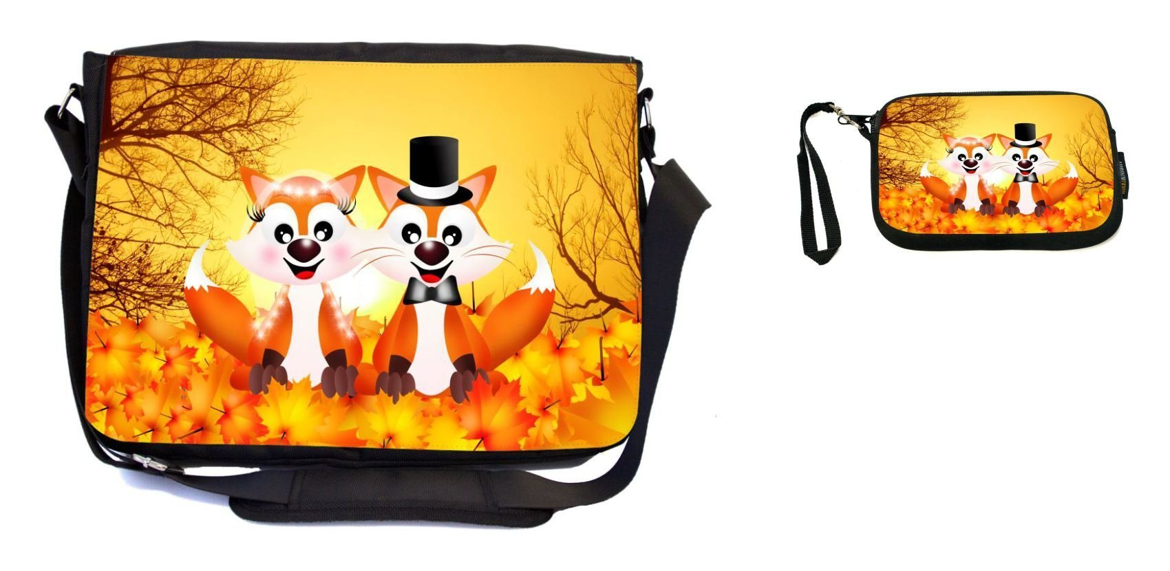 Rikki Knight Red Foxes in Love Wedding Illustration Design Messenger Bag - School Bag - Laptop Bag - with Padded Insert - Includes UKBK Premium Coin Purse