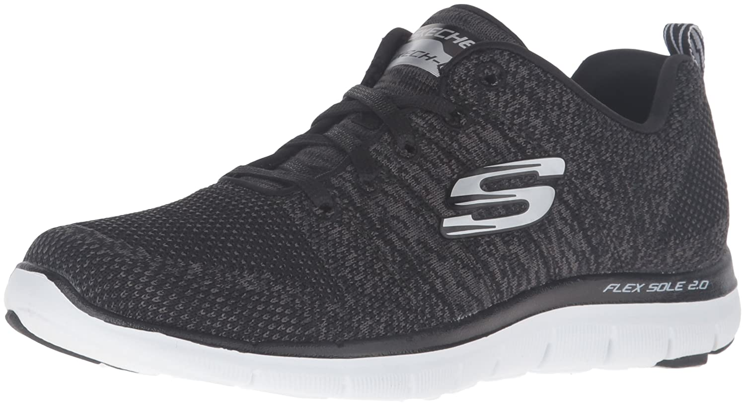 eefebba7c53b Skechers Sport Women s Flex Appeal 2.0 High Energy Fashion Sneaker Black  and White 8.5 B(M) US  Buy Online at Low Prices in India - Amazon.in
