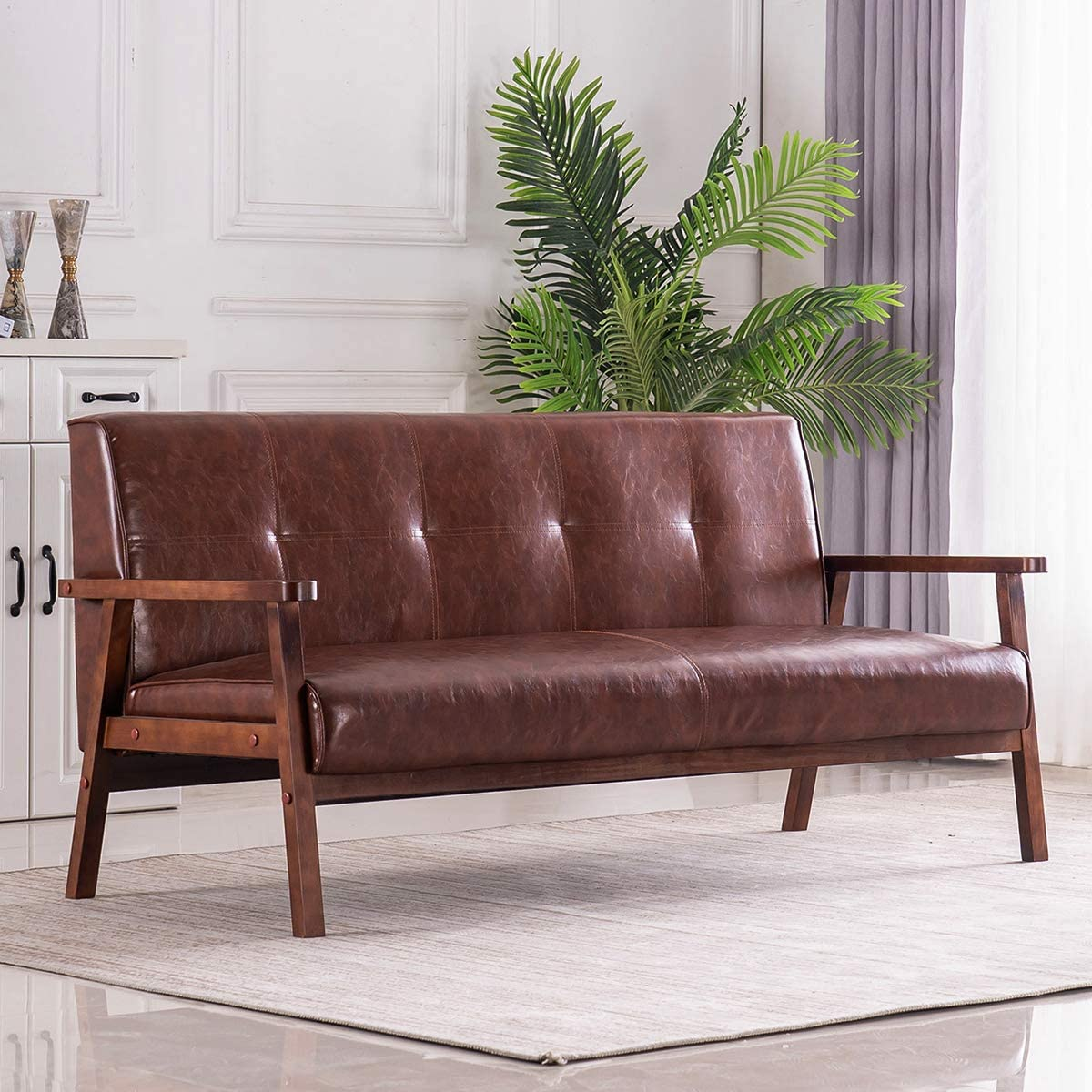 Mid-Century Retro Modern Faux Leather Upholstered Wooden 3-Seater Sofa (Brown)