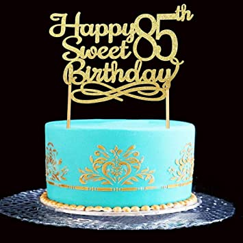 Gold Happy Sweet 85th Birthday Cake TopperGold Paper Topper Party