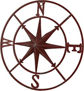 PD Home & Garden Distressed Metal Compass Rose Indoor/Outdoor Wall Hanging - Red