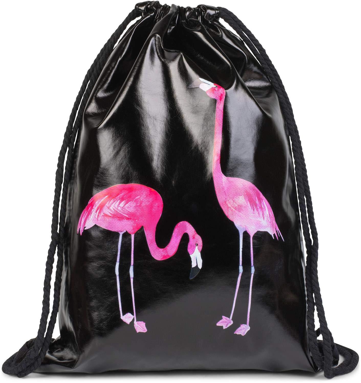 Unisex 02012271 styleBREAKER Bolsa de Deporte con Estampado de Flamenco en /óptica Brillante de Cuero Artificial Bolsa Color:Negro Mochila