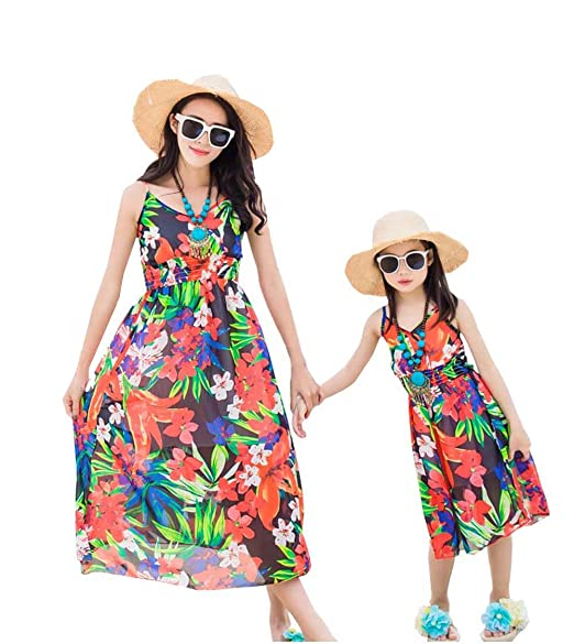f7cb2bddf13 Elufly Mommy and Me Floral Beach Dress Plus Size Summer Chiffon Sling Dress  Parent-Child