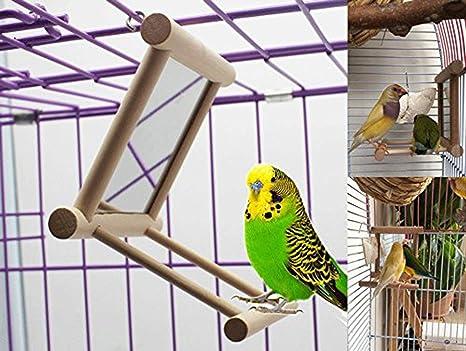 Ayuboom - Espejo para pájaros con columpio, de madera para loros ...