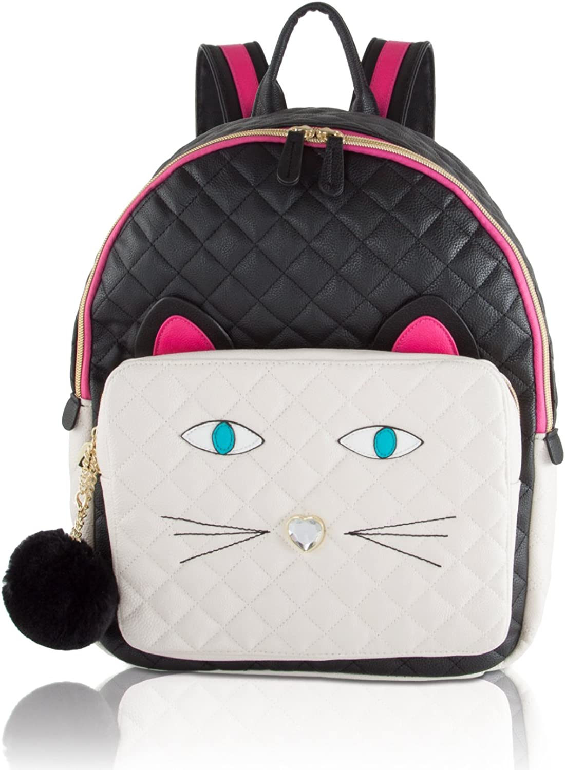 Betsey Johnson Quilted Face Large Backpack Black White