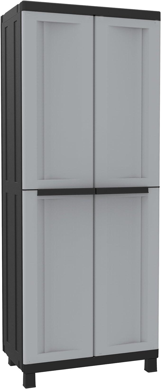 Terry Twist Black 3680 Armario 2 Puertas con Divisor Vertical y 3 baldas. Capacidad máxima del Estante: 10 kg distribuidos de Forma Uniforme, Gris/Negro, 68x39x170 cm: Amazon.es: Jardín