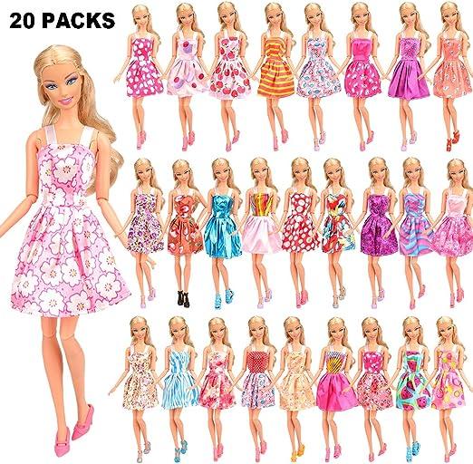 Seleccionado Al Azar Miunana 33x = 20 Vestidos + 13 Accesorios para Mu/ñeca Barbie Cama + Tocador + Taburete + 5 Perchas + Otros 5 Accesorios