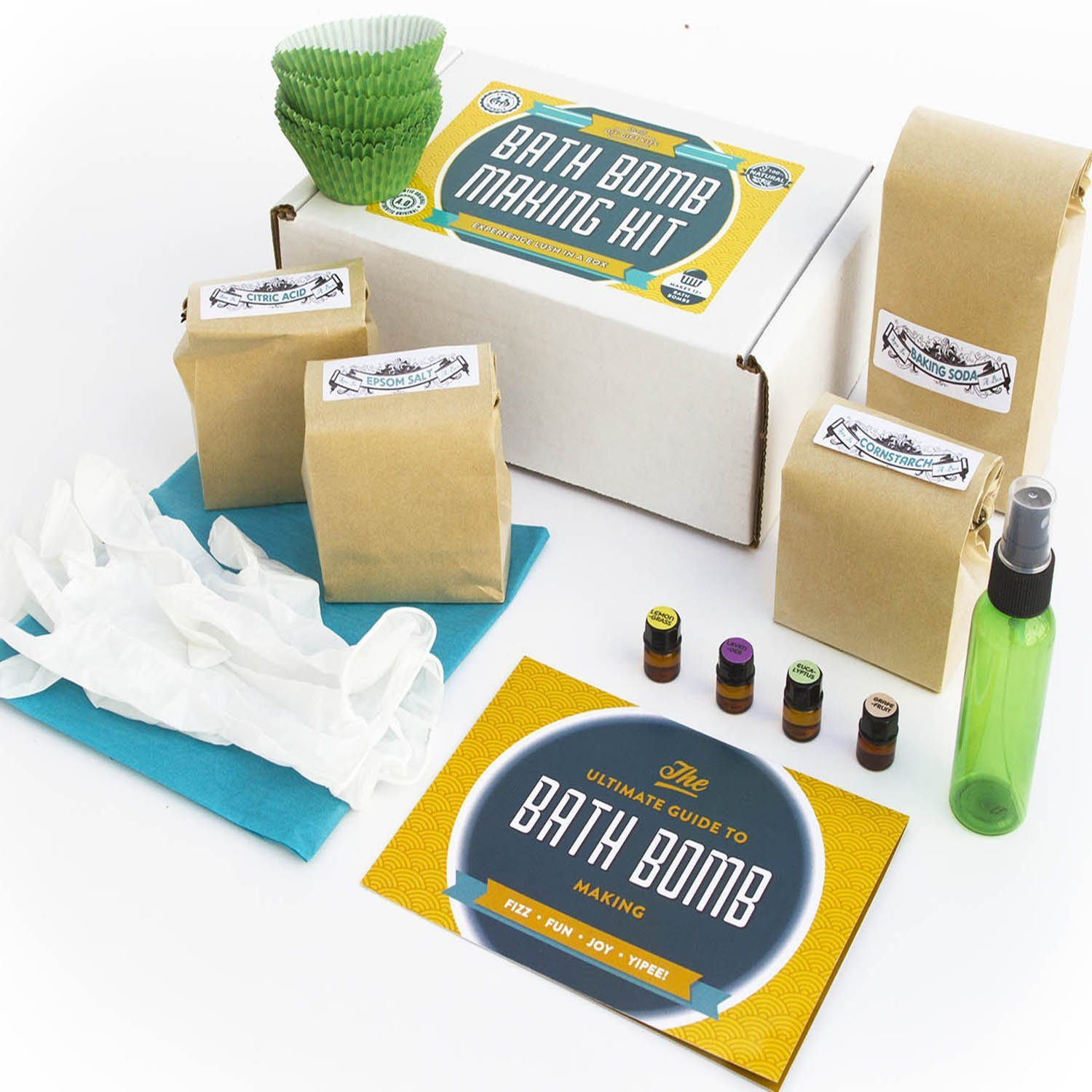 Bath Bomb Making Kit with 100% Pure Therapeutic Grade Essential Oils, (Makes 12 DIY Lush Cupcake Mold Bath Bombs), Gift Box Included.