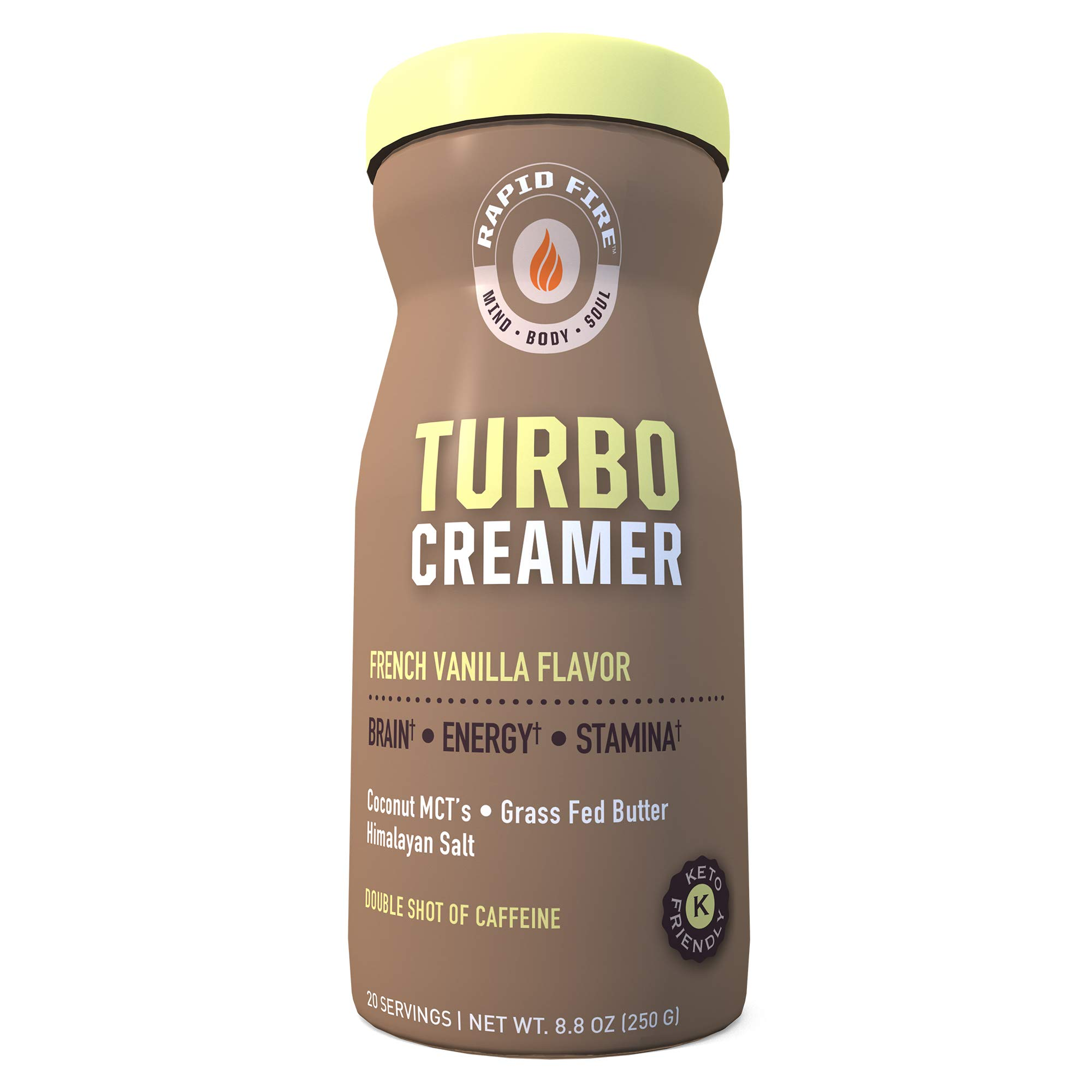 Rapid fire Turbo Creamer, French Vanilla Flavor with Shot of Caffeine, Coconut MCTs, Grass Fed Butter, Himalayan Pink Salt, 8.5 oz., 20 Servings by Rapidfire