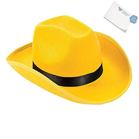 657444f18fb Amazon.com  Bargain World Polyester Adult s Yellow Cowboy Hat (With ...