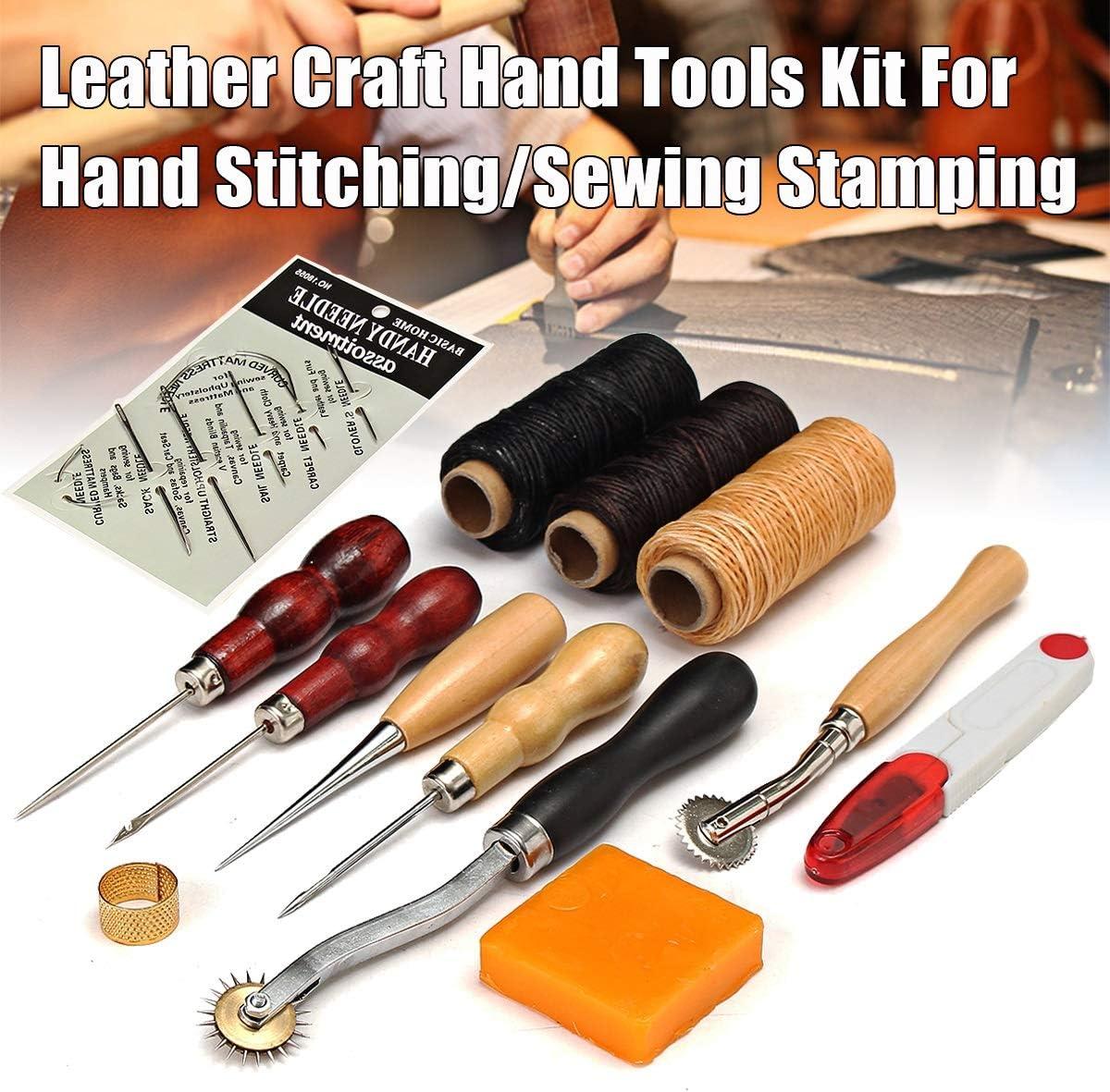 Jinxuny Juego de herramientas de costura para manualidades de cuero, cuero profesional Costura a mano Costura Talla Bricolaje Kit de estampado Punch Work Saddle ...