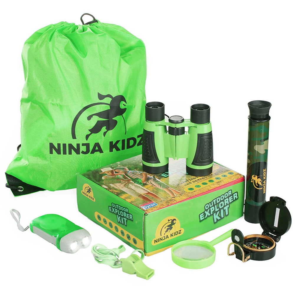 Educational Outdoor Explorer Toys For Kids   Binocular, Flashlight, Compass, Telescope, Magnifying Glass, Whistle, Backpack    Adventure Exploration Set   Camping, Hiking,  Bird Watching by Ninja Kid