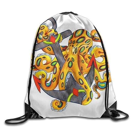 ce22f17dd6 Image Unavailable. Image not available for. Color  Unisex Big Octopus And  Anchor Print Drawstring Backpack Rucksack Shoulder Bags Gym Bag Sport Bag