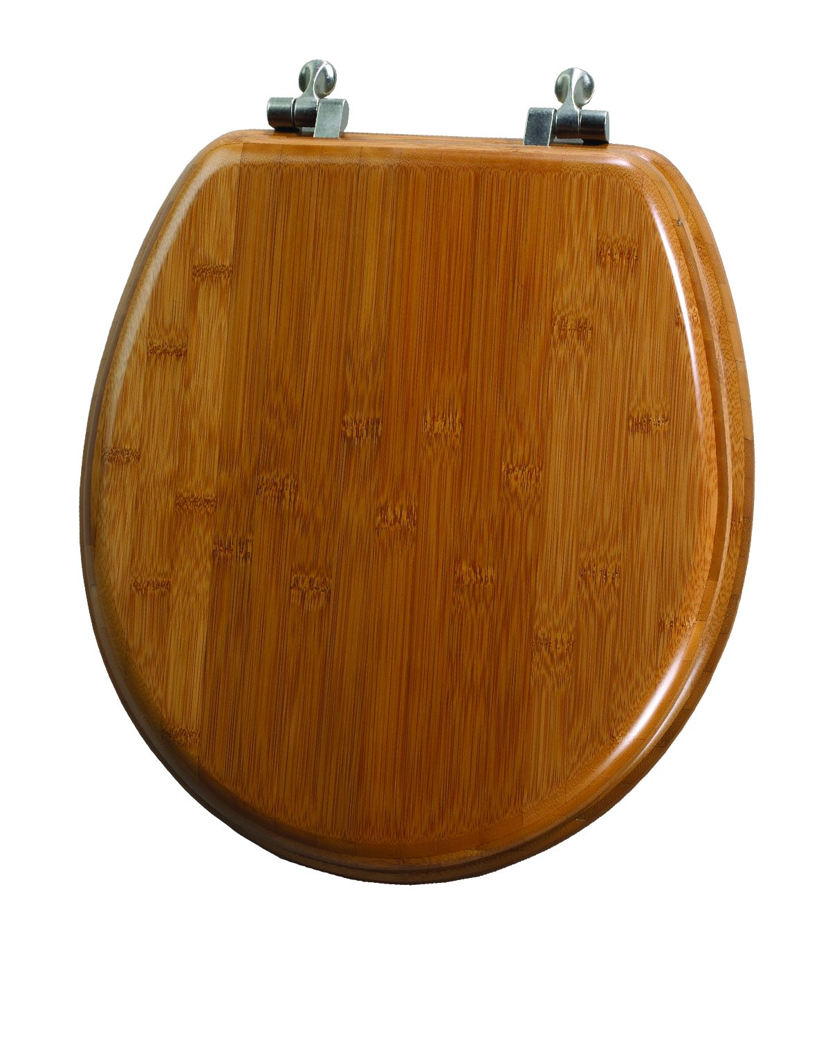 Toilet seats amazon kitchen bath fixtures toilets mayfair solid bamboo toilet seat with brushed nickel hinges round dark bamboo nvjuhfo Image collections