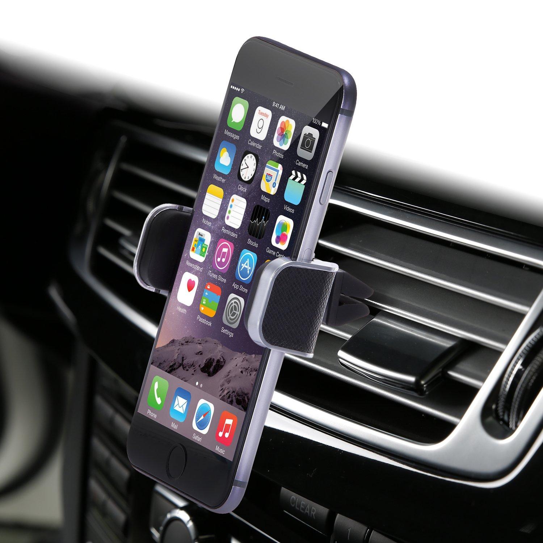 Dash Crab MONO - Genuine Leather Car Mount, Luxury Premium Air Vent Cell Phone Car Holder for iPhone 7 Plus 6 6s Plus Samsung Galaxy S7 S6 Edge Note 5, Universal Grip - Retail Pack (Black)