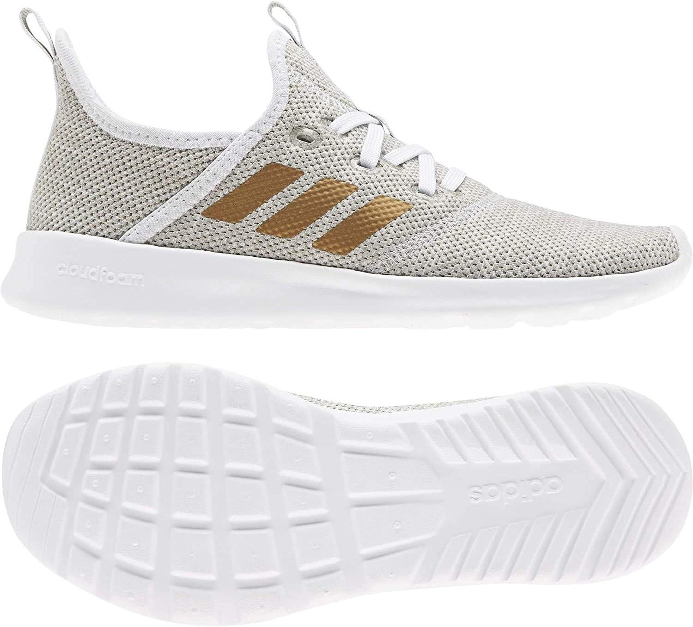 Adidas Dames Cloudfoam Pure Sneaker, Gris Mãtallique Blanc Craie Corail VIF Ftwr White Tactile Gold Met F17 Metal Grey