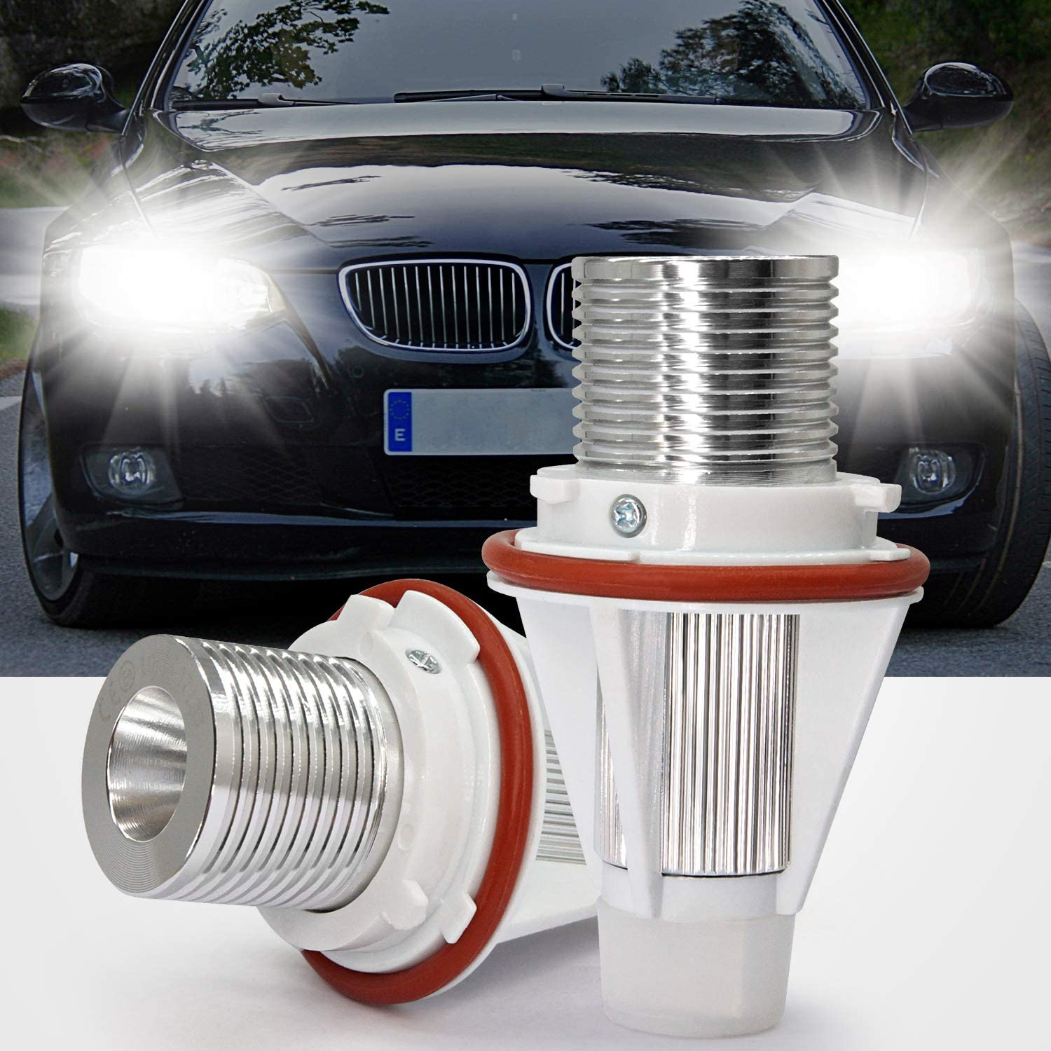 LED Angel Eyes Lights,YuanGu Auto Halo Ring Marker Bulbs Daytime Running Lights CREE 20W Xenon White with CE Mark CANBUS Error Free for E90 E91