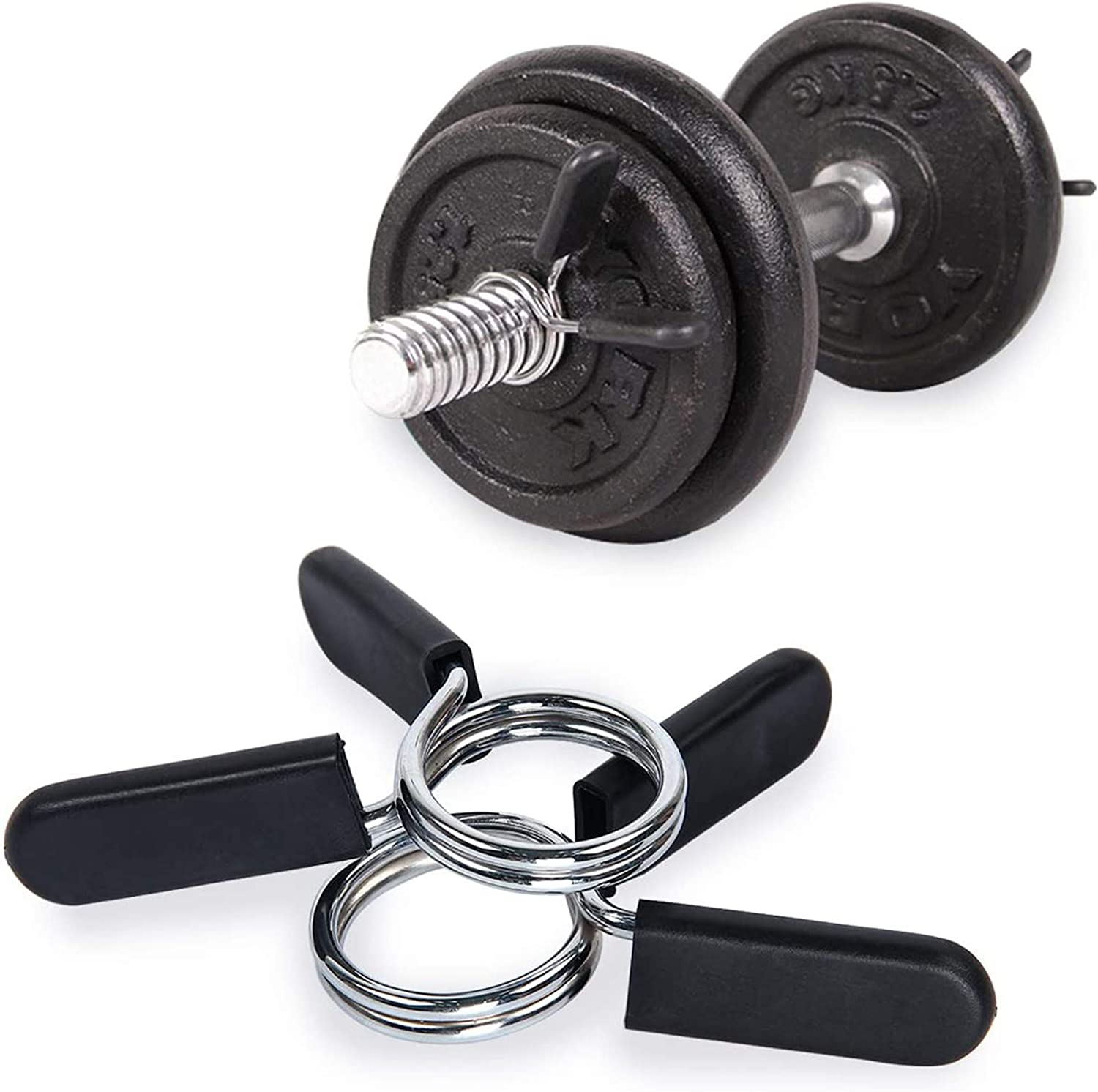 Xkfgcm 4 Pieces Barbell Dumbbell Barbell Spring Clip Collars Exercise Collars Dumbbell Clamps and Barbell Clamps Non-Slip Barbell Clamp Collars Barbell Clip Lock Collar For 28mm//1.1 inch Diameter Bars