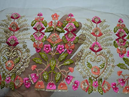 Embroidered Flower Lace Indian Sewing Decorative beadeed golden and white handmade Trim Art /& Craft Supply .