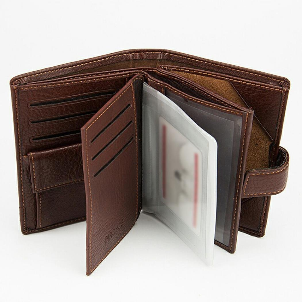 GBSELL Fashion Mens Leather ID Card Holder Billfold Purse Wallet Brown