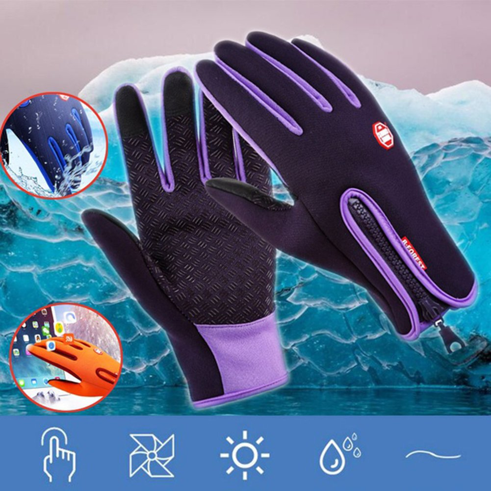mAjglgE Winter Touch Screen Motorcycle Fishing Outdoor Sports Mittens Skiing Gloves - Purple M