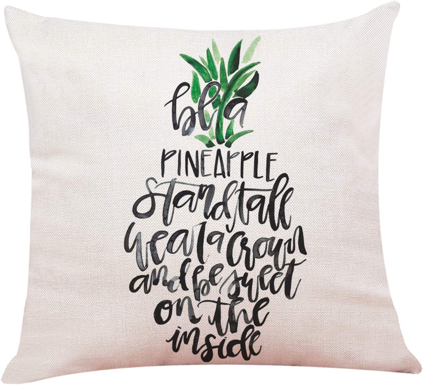 """963RW Pineapple Throw Pillow Covers. Be a Pineapple Stand Tall Wear a Crown Be Sweet On The Inside. Cotton Linen Throw Pillow Case Cushion Cover Sofa Home Decorative(18""""X 18""""Inch)"""