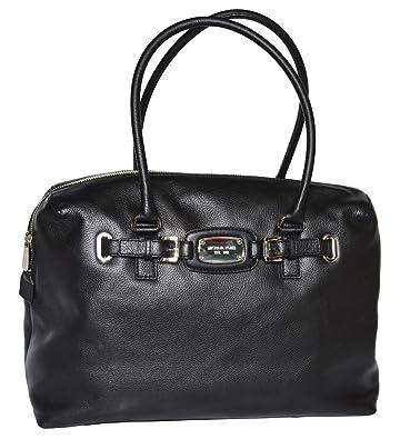 035095a8bbf12f Michael Kors Black Leather Hamilton Weekender Satchel Tote Handbag Bag:  Handbags: Amazon.com