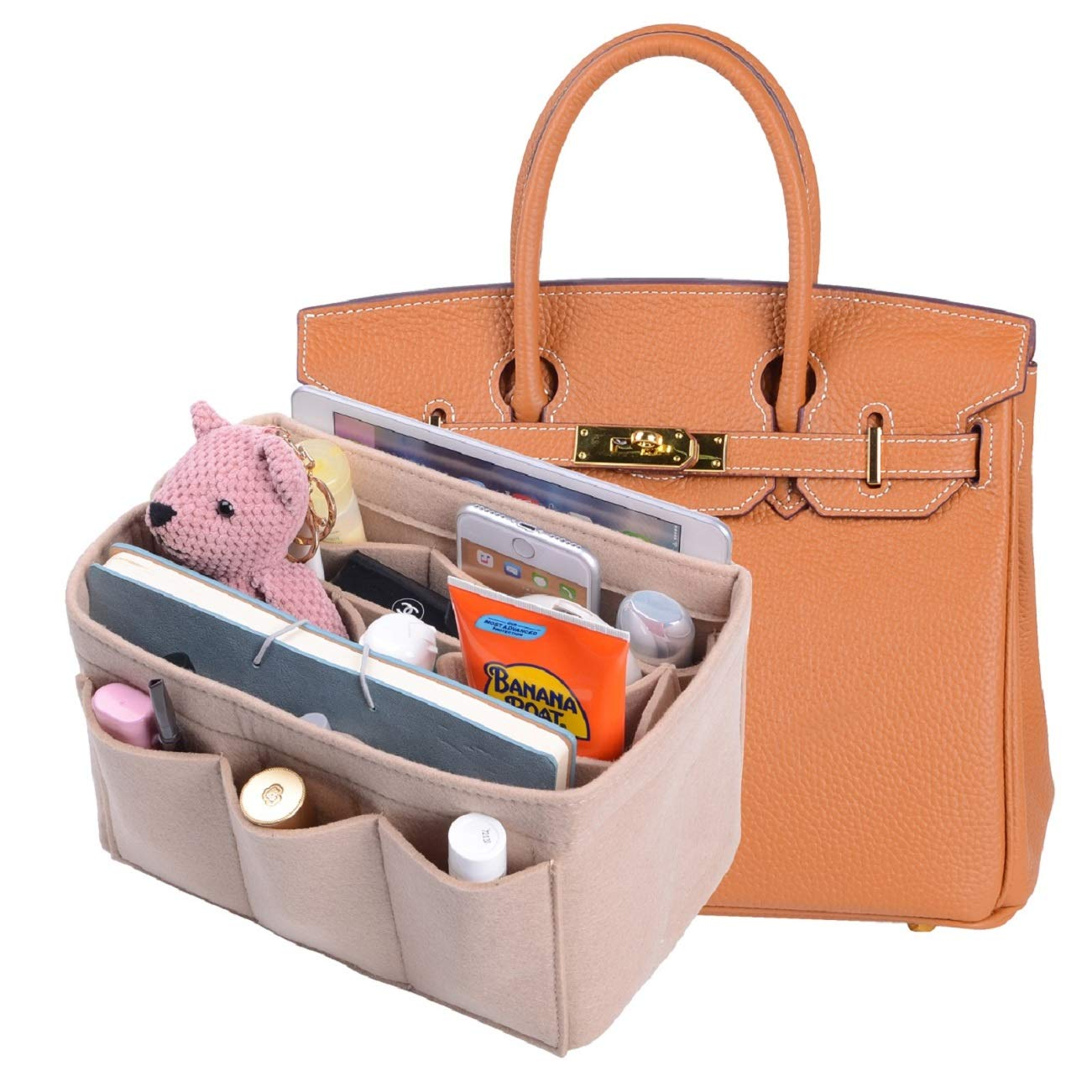 Felt Insert Purse Organizer New Design Bag Organizer With Sewn Bottom Insert Bag In Bag Organizer For Hermes Birkin30 (Beige)