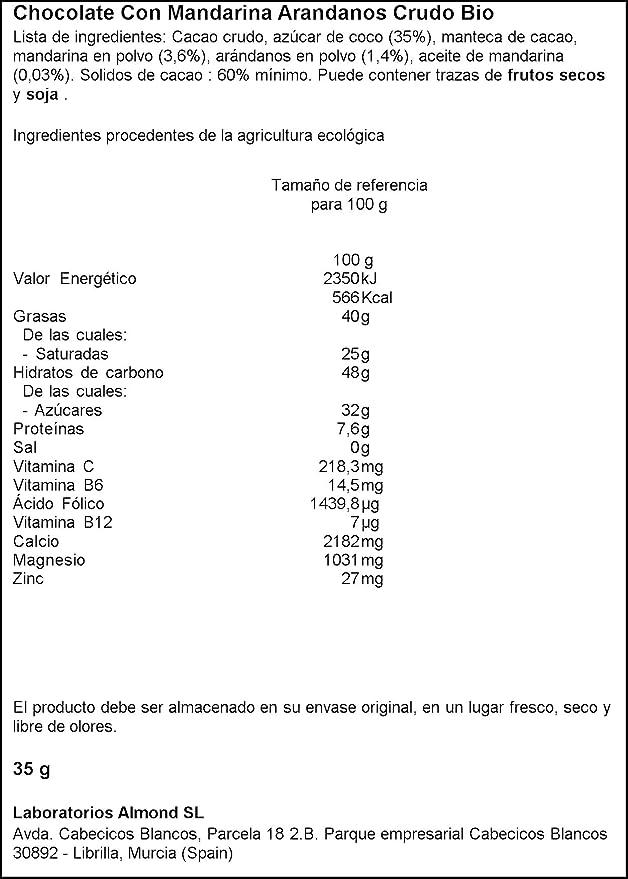 Ombar Chocolatina ecológica Cruda con Mandarina y arándanos -Pack de 5 unidades de 35 gr: Amazon.es: Alimentación y bebidas
